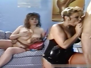 Retro big tits deepthroat threesome