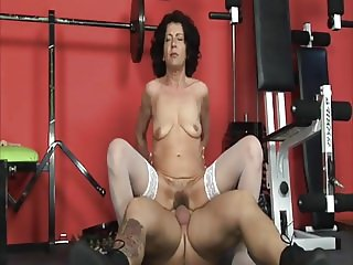 Hairy granny fucking in the gym