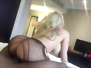 Interracial blonde MILF eagerly pumps her ass with BBC