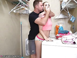 Step Sister Sierra Nicole Gets Cream pie on Top of Washer!
