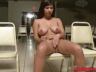Busty babes strip and masturbate at hazing