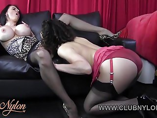 Horny lesbians lick big tits pussy wank in nylons lingerie