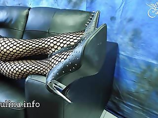 Mature Herrin Carmen Fishnet Pantyhose Legs and Spike Heels