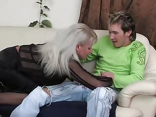 Hot Russian Mommy Saggy Tits Fucked Young Guy Stockings