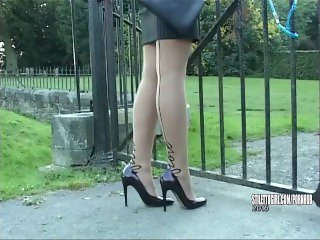 Sexy blonde Kathryn gets out car in high heels finishes you off at shoes