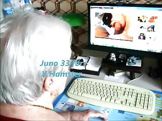Granny at her desk watcking X