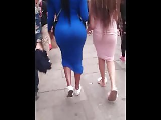 Candid Big Round Booty Jiggling & Sexy Teen In Tight Dress