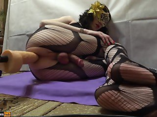 TS-girl, anal sex on the floor, fucking machines