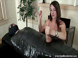 mean girl jerks off sub male white penis