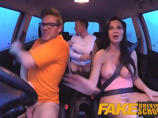 Fake Driving School double creampie for milf who can't get enough cock