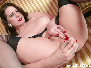 Big tits Milf Karina Currie strips off retro lingerie toys pussy in nylons