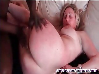 Cuckold sissy watchis his wife rough fucked by huge BBC bull