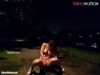Japanese BigTits Almost Caught Naked & Orgasm At Night City Park Live Chat