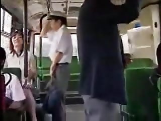 Japanese Milf and boy masturbate each other on the bus Pt1