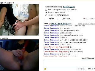 Excited Russian couple in a home chat 9