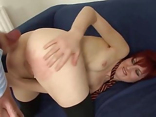 Old daddy fuck redhead hottie and cums on her ass