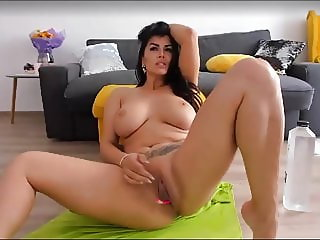 Masturbating to cam  great natural tits