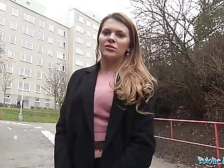 Public Agent Russian shaven pussy fucked for cash
