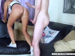 Big tits stepmom Michelle Thorne fucks step son for big cock and young cum