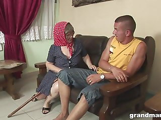VERY old granny hardcore fucked by a younger stud