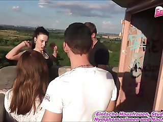 GERMAN OUTDOOR GROUPSEX foursome with 2 young teens