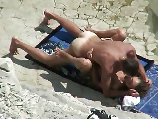 Real Amateur Couple #rec fucks on the sunny beach Voyeur