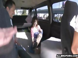 Shy college girl gets in a van with strangers and fucks