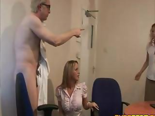 Horny couple gets caught giving oral pleasure at the office