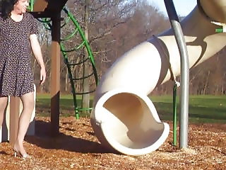 Crossdresser at park