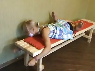 Cute, Barefoot, Gagged Blonde - Bound and Struggling