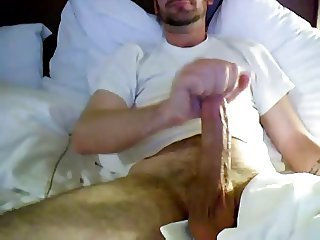 Guy wanking his massive cock on webcam for BF