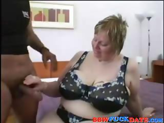 Mature chubster blonde with droopy giants gets some black meat