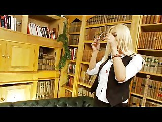 British blonde slut gets fucked in the library