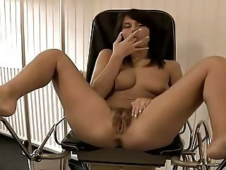 brunette with wet hairy pussy