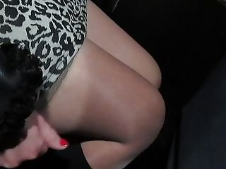 Girl in stockings in a bus