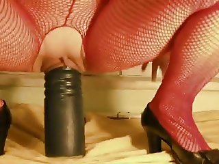 Black dildo insertion