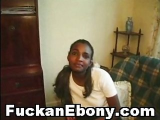 Nasty Ebony Teen Enjoying Very Big White Cock