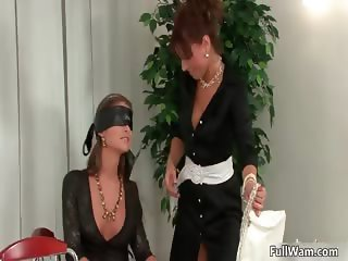 Sexy brunette lesbians get horny playing part2