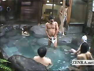 Subtitled nude Japanese woman enters a male bathhouse
