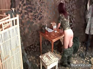 Hot ginger getting whipped by soldier  part5