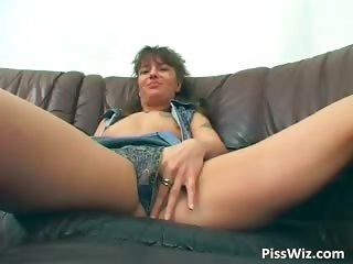 Slutty brunette pisses and fucks her part2