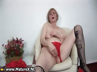 Very horny old housewife is wanking part5