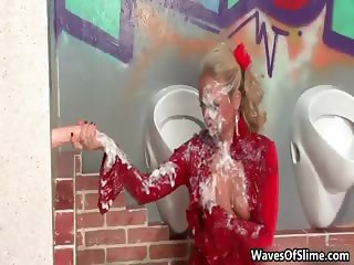 Nasty blonde whore gets her dirty face part6