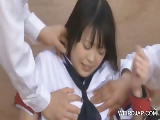 Asian female slave gets stripped for sex