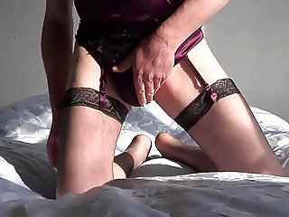Crossdressed panty wank
