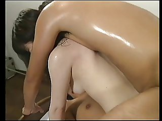 Asian slut gets her hairy pussy spread by guy