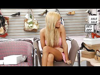 Blonde fucking in a shoe store