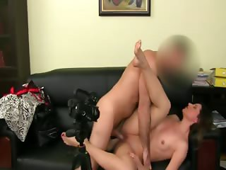 Fake agent having sex on leather sofa