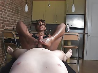 Dominating Ebony Footjob III - She him to Gush Cum