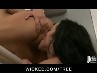 Two horny party girls suck and fuck each other's pussies